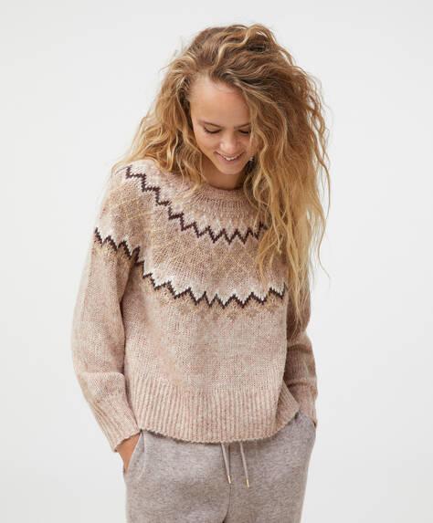 Strikket sweater med jacquardstruktur