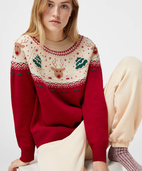 Jacquard Christmas tree and reindeer jumper