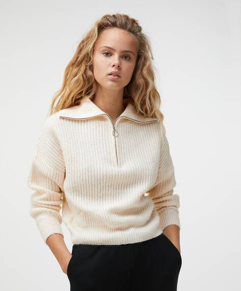 Zip-up knit jumper