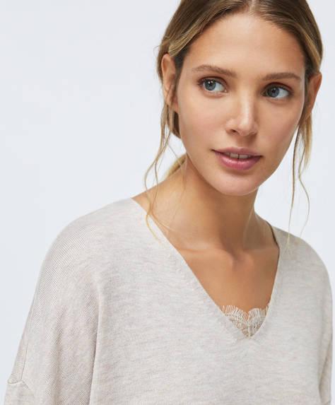 Feinstrick-Pullover mit Spitzendetail