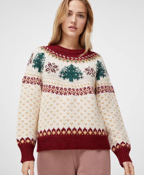 Sweater med julemotiv i relief med juletræ og rensdyr