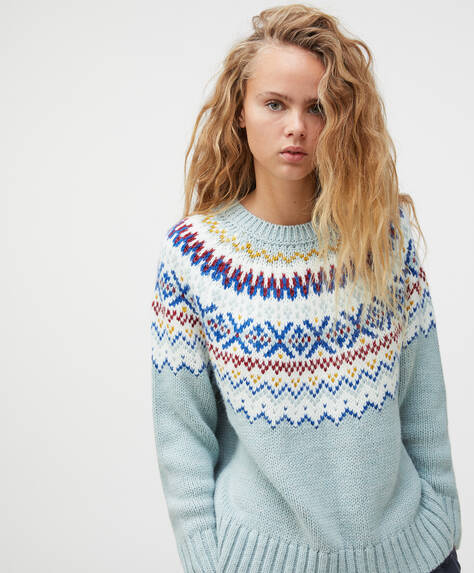 Pastel jacquard knit jumper