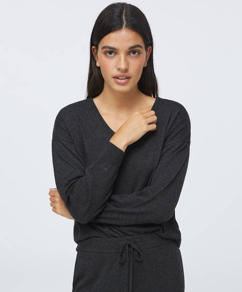 Fine-knit V-neck jumper