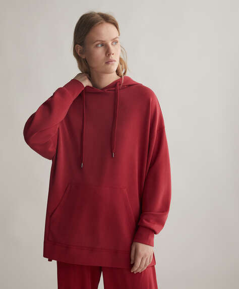 Lang sweatshirt i soft-touch stof