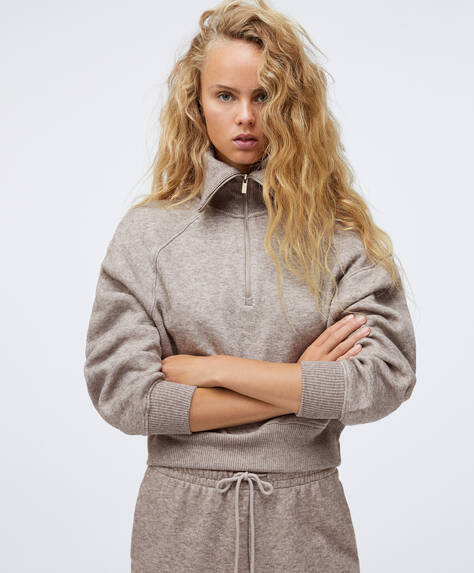 Half-zip knit sweatshirt