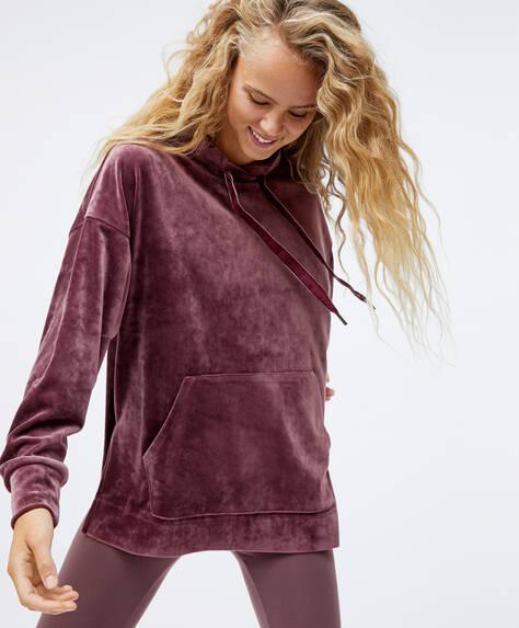 Sweat en velours à poche avant oversize