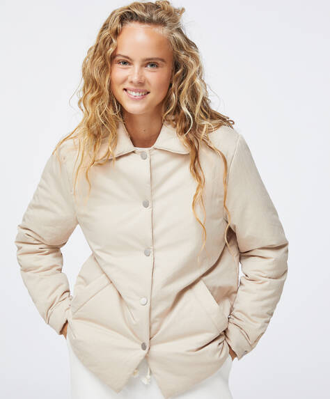 Beige water-repellent padded jacket