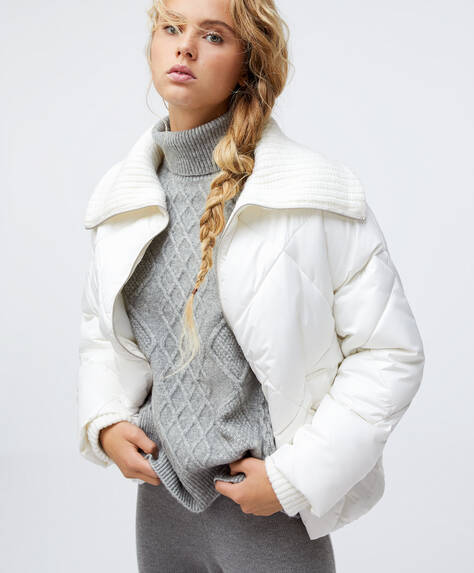 Padded jacket with knit collar