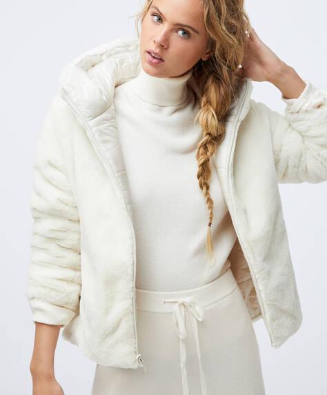 Fur effect reversible jacket