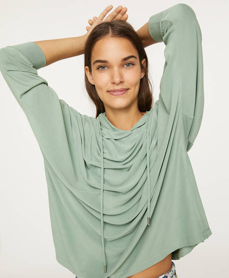 Modal poncho-style oversize sweatshirt
