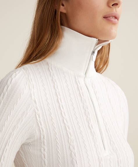 Braid detail seamless zipped sweatshirt