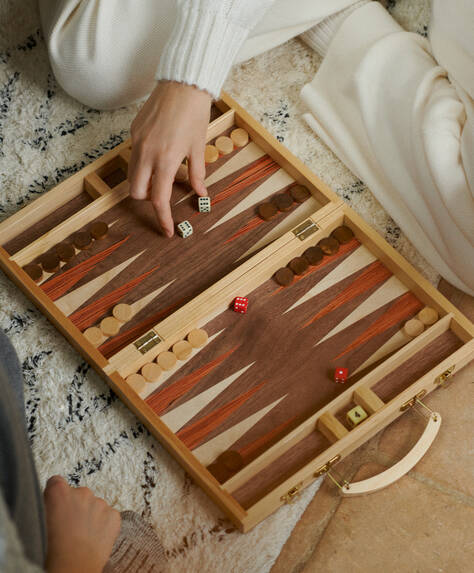 Wooden Backgammon Briefcase