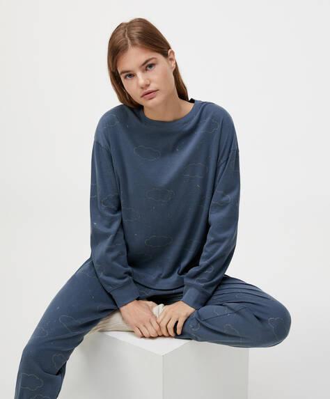 Shirt aus 100% Baumwolle mit Wolkenprint