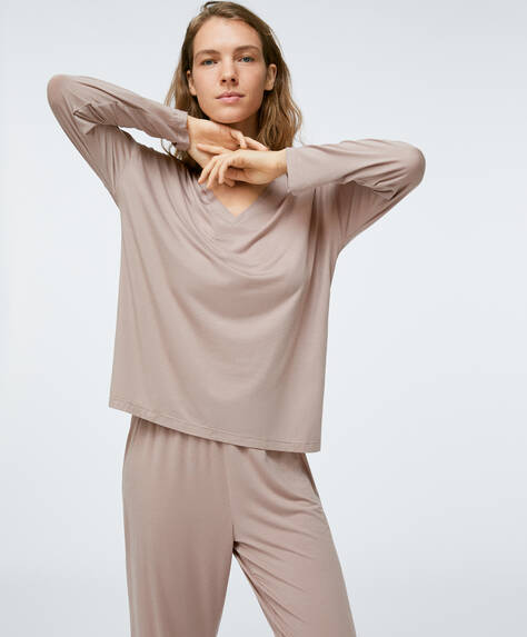 Taupe soft-touch T-shirt