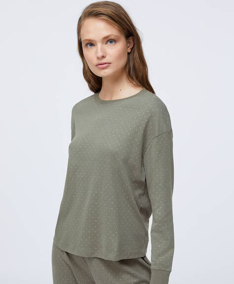 Camisola caqui 100% algodão com padrão de luas