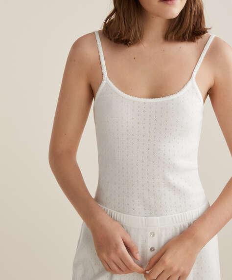 Minik delikli %100 pamuklu askılı tişört