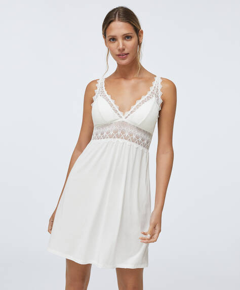 Geometric lace nightdress with removable cups