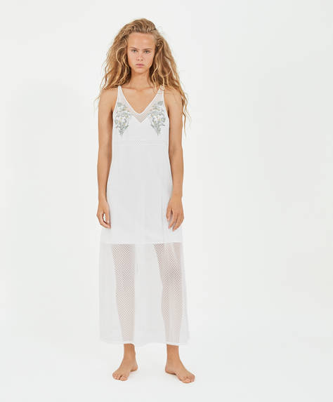 Embroidered long slip nightdress