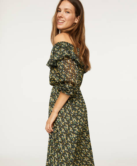 Off-the-shoulder ditsy floral dress