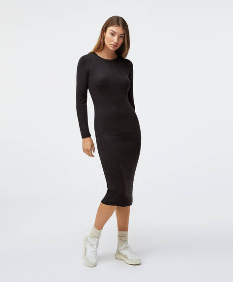 Fitted dress in fine rib knit