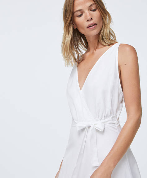 Strappy linen wrap dress