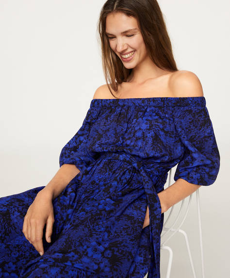 Off-the-shoulder two-tone dress