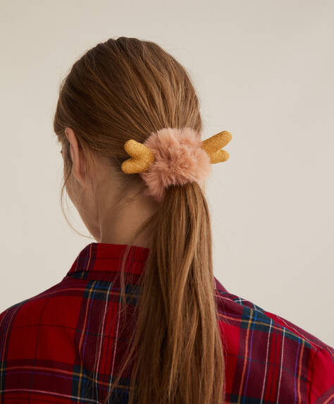 Soft touch reindeer scrunchie