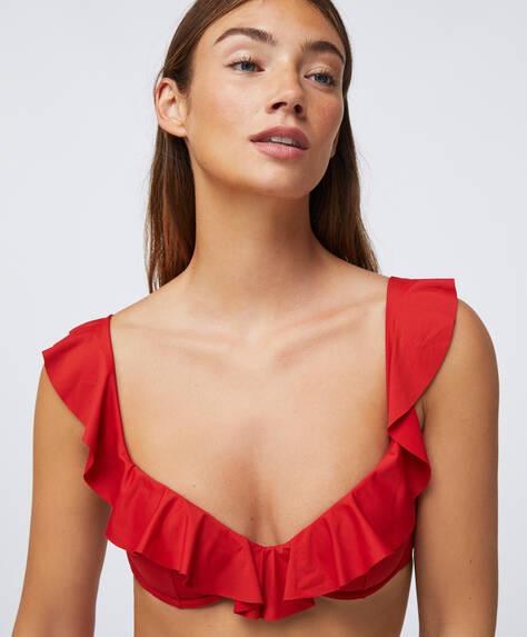 Ruffle balconette bikini top