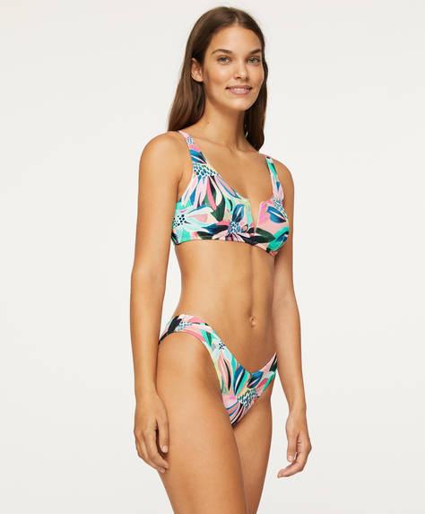 V-cut floral Brazilian bikini briefs
