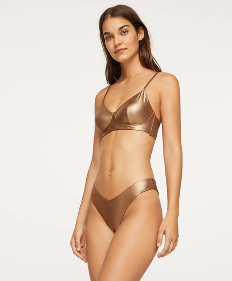Gold-tone V-cut Brazilian bikini briefs