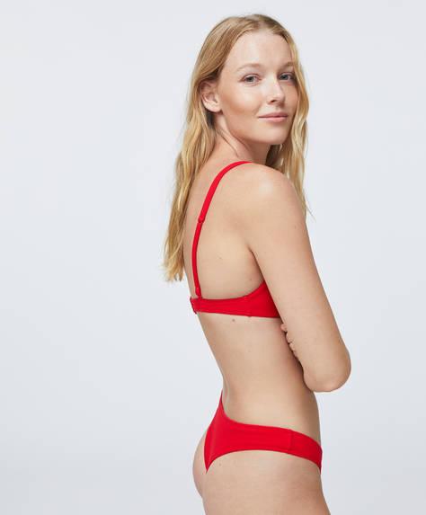 Brazilian high-leg bikini briefs with V-cut front. Structured fabric detail.