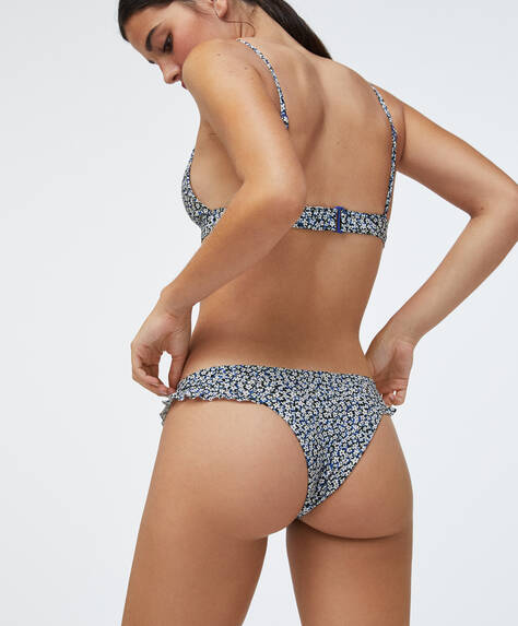 V-cut ditsy floral Brazilian briefs