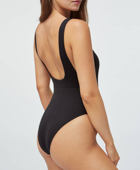 High-leg open side bandeau swimsuit