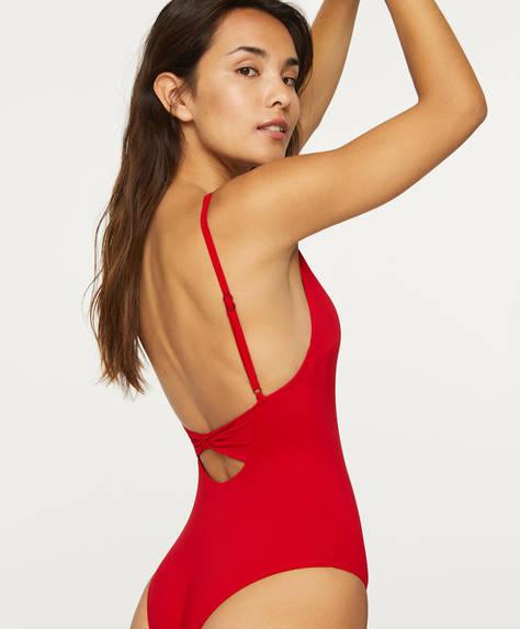 Costum de baie cu fundă la spate