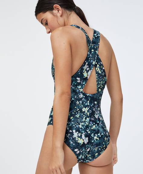 Floral print sports swimsuit