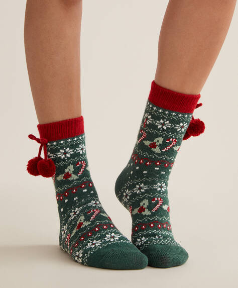 Christmas pompom socks