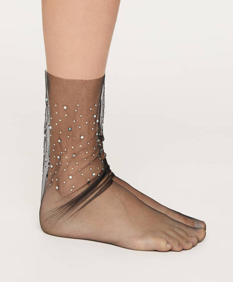 Sheer diamante socks