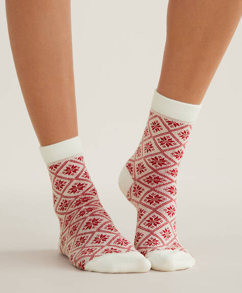 2 pairs of Christmas jacquard socks