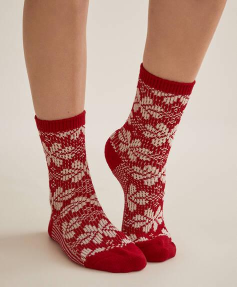 Jacquard flower Christmas socks