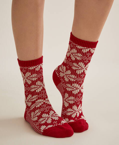 Jacquard flower Christmas socks