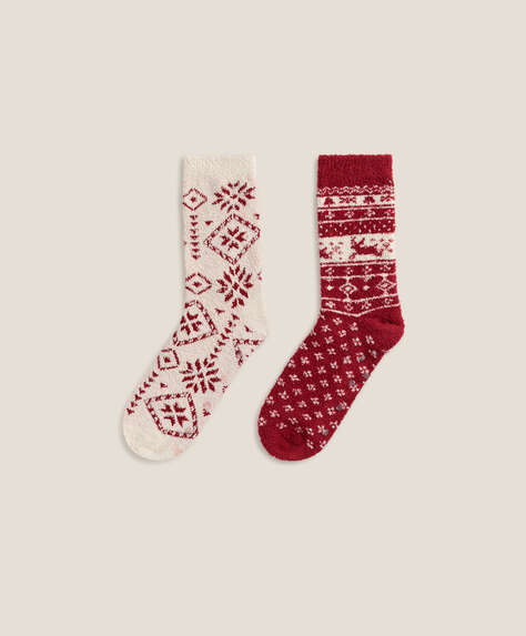2 pairs of jacquard pattern socks