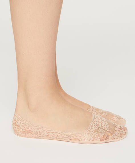 Pack of 2 pairs of floral lace footsies