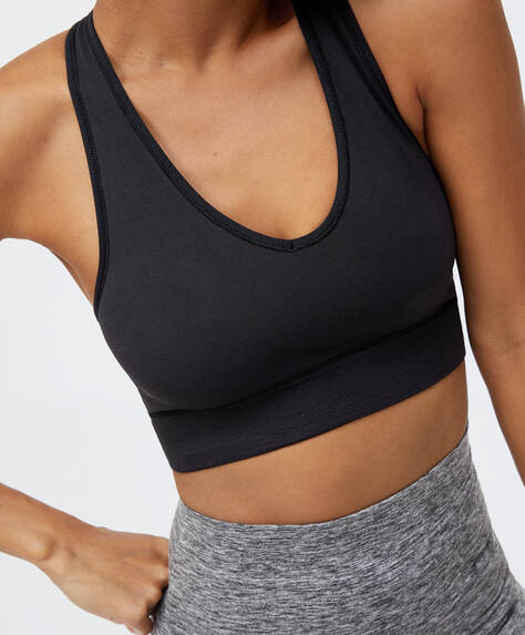 Seamless sports bra with racer back