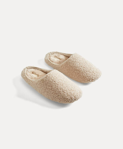 Basic faux shearling slippers