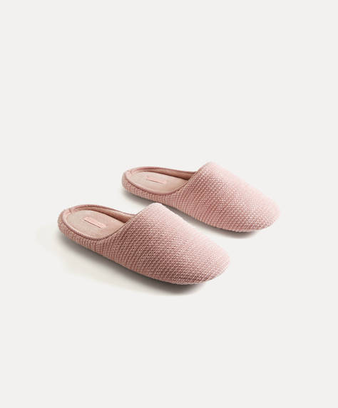 Basic marled fabric slippers