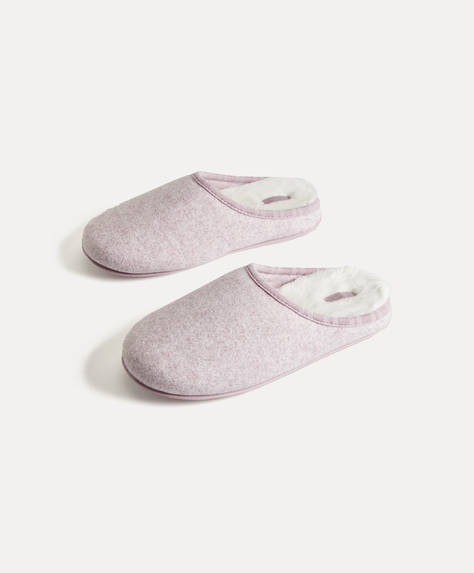 Flecked fabric slippers