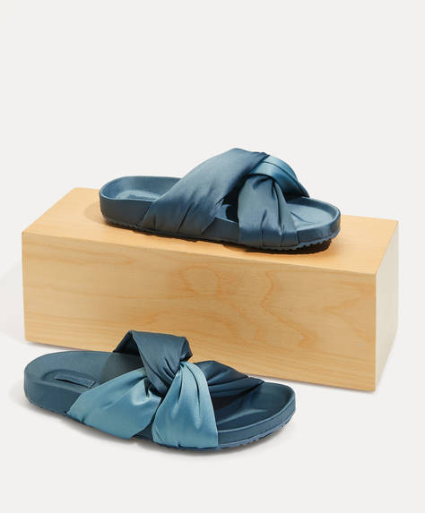 Satin crossover sandal