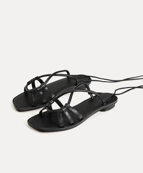 One-colour tie sandals