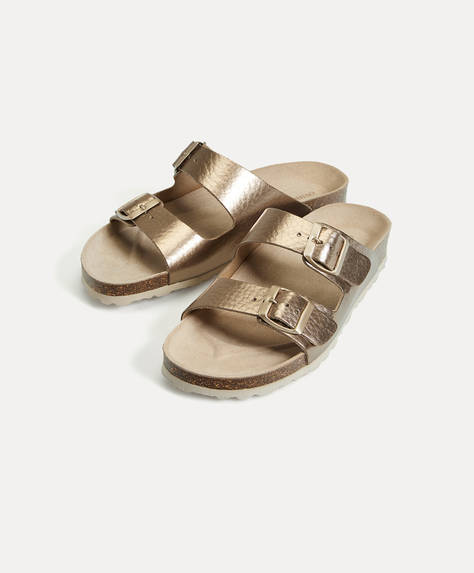 Metallic leather sandals