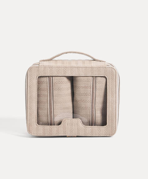Embossed combination wash bag